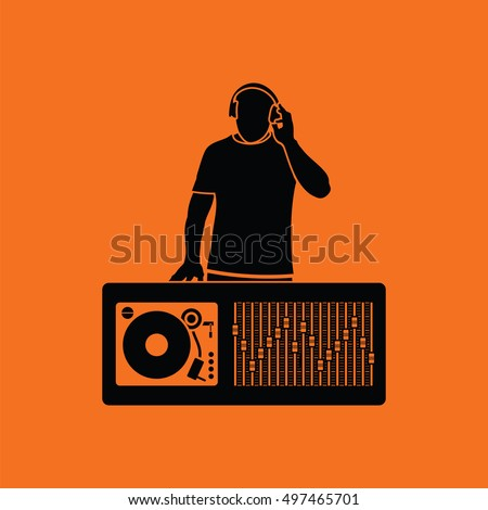 dj icon orange background with