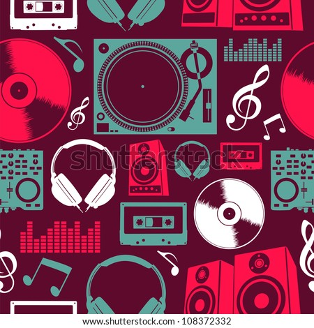 dj icon set seamless pattern