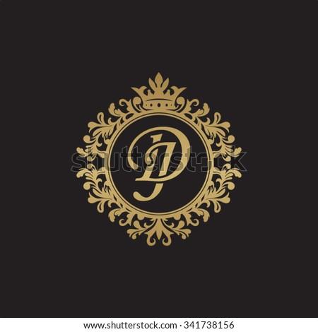 DJ initial luxury ornament monogram logo Stock fotó ©