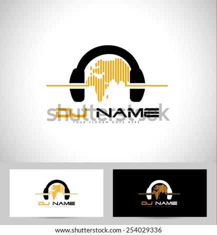 Dj Logo Design. Creative vector logo design with headphones and world map.