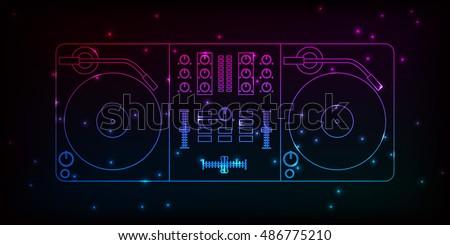 dj mixer neon design with