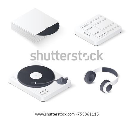 dj mixing turntable set