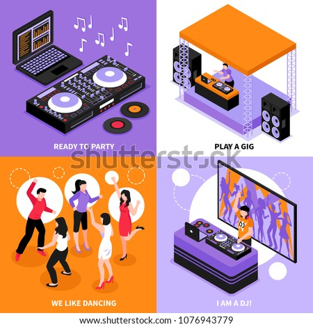 DJ music 4 isometric icons concept with  audio system party dancing corporate gig play isolated vector illustration