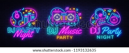 dj music party neon sign