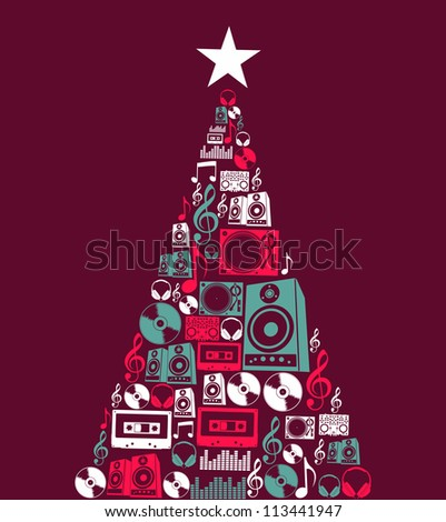Dj music retro icon set in Christmas pine tree shape illustration background. Vector illustration layered for easy manipulation and custom coloring.
