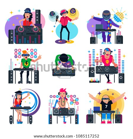 DJ music vector discjockey character playing disco on turntable sound record in nightclub set of jockey people with audio equipment for playback vinyl discs isolated on white background