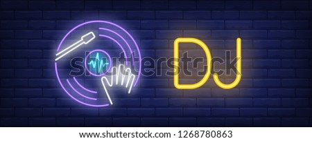 DJ neon text and vinyl disc with disc jockey hand. Disco advertisement design. Night bright neon sign, colorful billboard, light banner. Vector illustration in neon style.