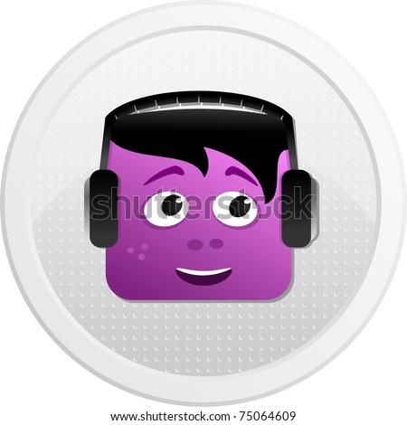 DJ of avatar icons set
