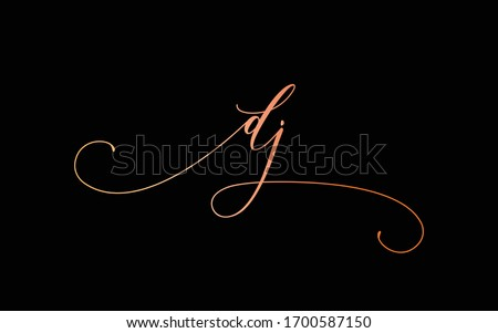 dj or d, j Lowercase Cursive Letter Initial Logo Design, Vector Template Stock fotó ©