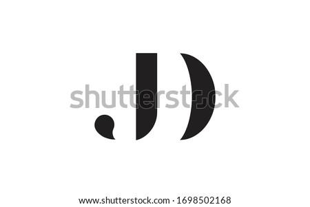DJ or JD and D or J Letter Initial Logo Design, Vector Template Stock fotó ©