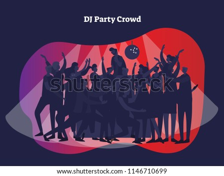 Stock Photo DJ party crowd vector illustration. Adult friends and couples enjoying life, club, celebration, discotheque, party and active entertainment. Modern and casual youth style in light of disco and beam.
