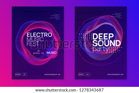 Dj party. Dynamic gradient shape and line. Bright discotheque cover set. Neon dj party flyer. Electro dance music. Techno trance. Electronic sound event. Club fest poster.