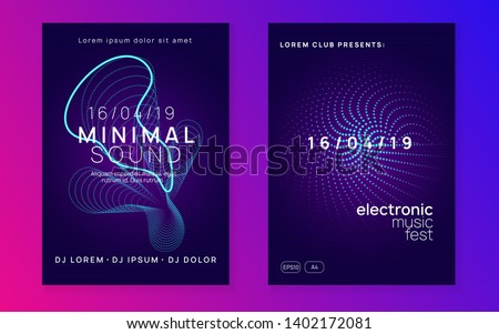 Dj party. Trendy show cover set. Dynamic fluid shape and line. Neon dj party flyer. Electro dance music. Techno trance. Electronic sound event. Club fest poster.