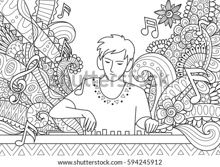 dj playing music for coloring