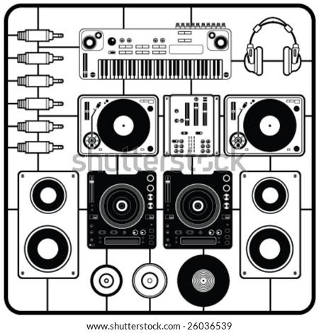 dj's music elements vector