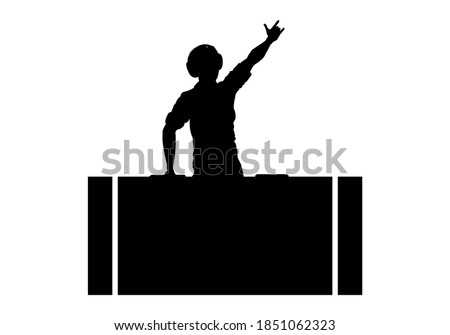 DJ silhouette. A man is wearing headphones and mixing music on a player or console. Party and disco design element. Vector illustration. Сток-фото ©