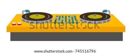 DJ turntable console mixer vector cartoon illustration isolated on white background.