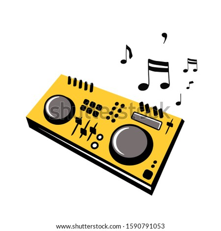 DJ turntable console mixer vector isolated on white background. Controller. Audio sound equipment musical instrument.