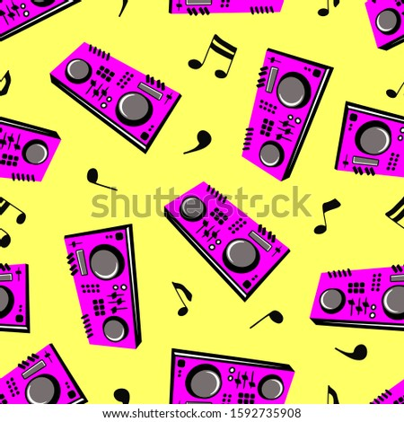DJ turntable console mixer vector isolated on white background. Controller. Seamless pattern. Audio sound equipment musical instrument.