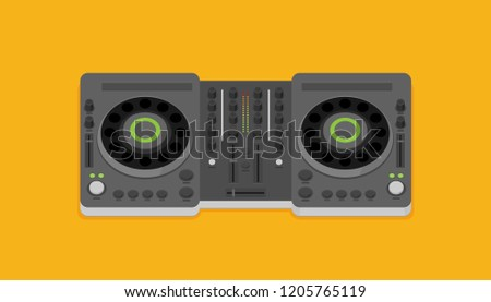 DJ turntable device in flat style vector isolated on background