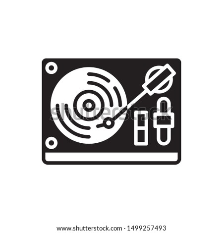 DJ Turntable icon. flat simple pictogram. Vinyl disc player vector illustration