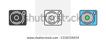 DJ Turntable icon. Line, glyph and filled outline colorful version, vinyl disc player outline and filled vector sign. Symbol logo illustration. Different style icons set. Pixel perfect vector graphics