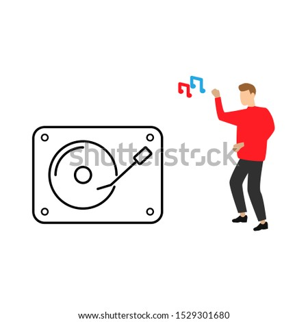 DJ Turntable icon. People dancing to the music. Note sign