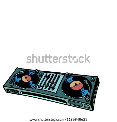 DJ turntable, music console. isolate on white background. Comic cartoon pop art retro vector illustration