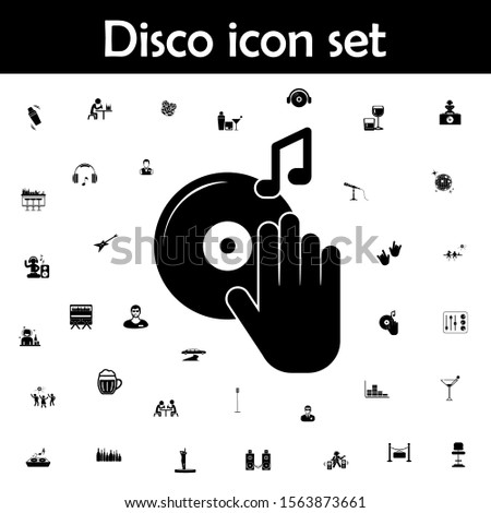 Dj turntable record player with hand icon. Disco icons universal set for web and mobile