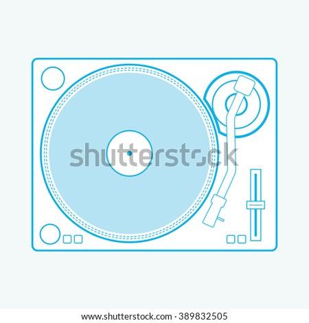 dj turntable top view vector