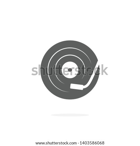 DJ turntable vector icon on white background