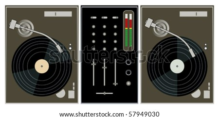 dj turntables and mixer on white background vector