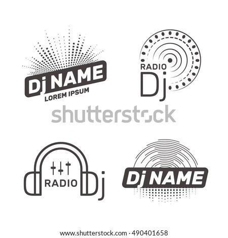 DJ vector label or logo template. Radio Dj icon.
