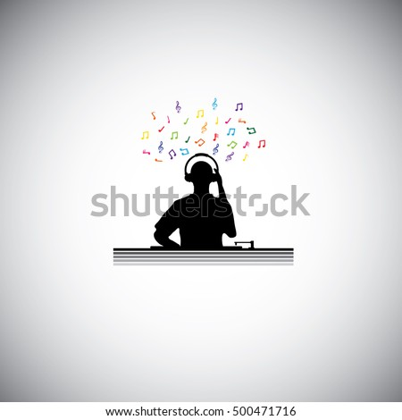 dj with console   silhouette