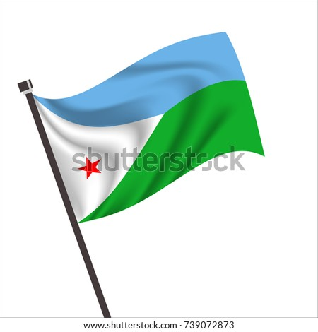 Djibouti Flag.Djibouti Icon vector illustration,National flag for country of Djibouti isolated, banner vector illustration. Vector illustration eps10.