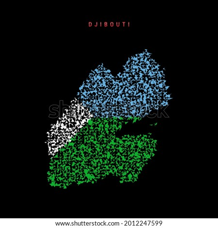 Djibouti flag map, chaotic particles pattern in the colors of the Djiboutian flag. Vector illustration isolated on black background. Foto d'archivio ©