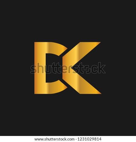 DK or D K letter alphabet logo design in vector format. Stock fotó ©