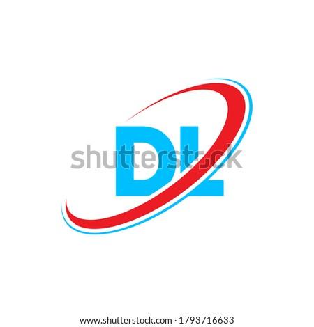 DL D L letter logo design. Initial letter DL linked circle uppercase monogram logo red and blue. DL logo, D L design. dl, d l Stock fotó ©
