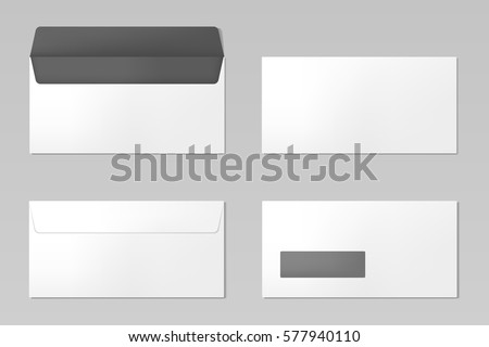 DL Envelopes mockup front and back view, vector illustration