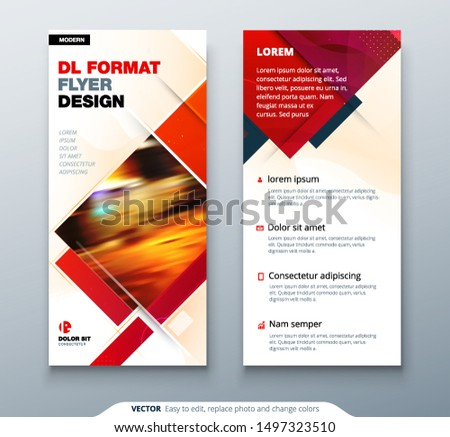 DL Flyer design with square shapes, corporate business template for dl flyer. Creative concept flyer or banner layout.