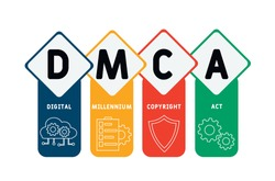 DMCA - Digital Millennium Copyright Act acronym. business concept background.  vector illustration concept with keywords and icons. lettering illustration with icons for web banner, flyer, landing
