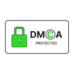 DMCA protected sign. Digital Millennium Copyright Act acronym. Copyright protection. Intellectual property concept. Vector illustration