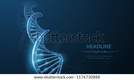 DNA. Abstract 3d polygonal wireframe DNA molecule helix spiral on blue. Medical science, genetic biotechnology, chemistry biology, gene cell concept vector illustration or background