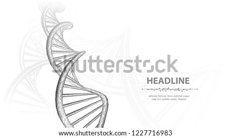 DNA. Abstract 3d polygonal wireframe dna molecule helix spiral on white background. Medical science, genetic biotechnology, chemistry biology, gene cell concept vector illustration or background