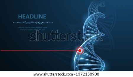 DNA. Abstract future innovation dna molecule helix spiral laser therapy on white background. Medical science, genetic biotechnology, chemistry biology, gene cell concept vector 3d illustration