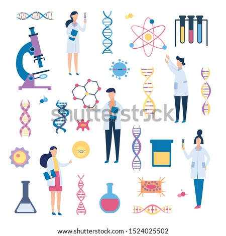 DNA and medical science researchers in flat cartoon poster, genetic health, biology and chemistry related objects, microscope, genes, people in vector illustration on white background