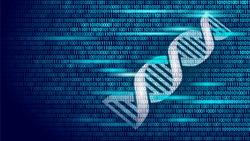 DNA binary code future computer technology concept. Genome science structure modified GMO engineering molecular symbol sign medicine coding gene banner template vector illustration