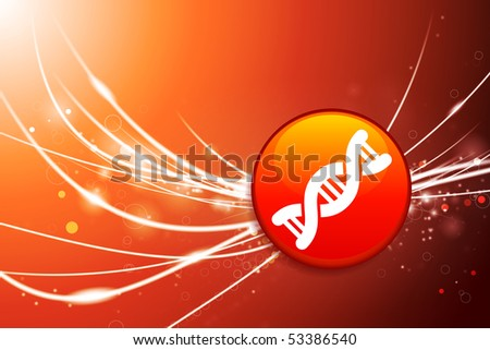 DNA Button on Red Abstract Light Background Original Illustration