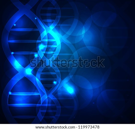 DNA chain abstract blue background - stock vector