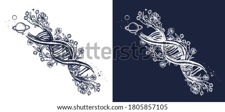 DNA chain and art nouveau flowers tattoo. Symbol of art, science, knowledge, medicine, evolution, lives and death t-shirt design. Black and white vector graphics Foto stock ©